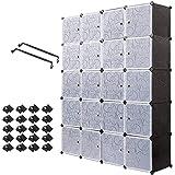 Meerveil Armoire Penderie Portable, Étagère de Rangement, Cubes de Stockage Modulaire en Plastique en métal Stable, Assemblag
