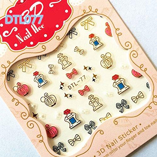 Bbl345dllo 12 pcs adesivi nail art unghie, multi-pattern nail art lettera sticker donne unghia manicure fai da te decalcomania decor dtl077