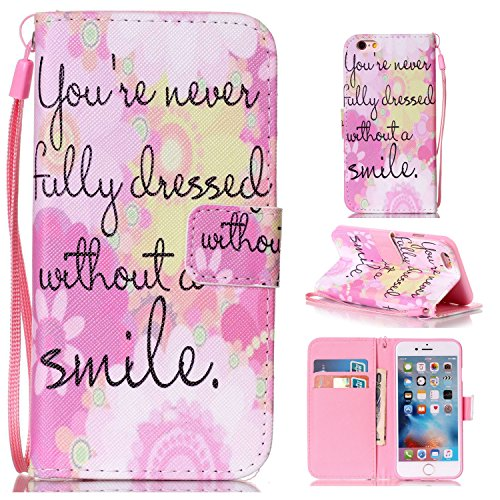 Price comparison product image For Apple iPhone 6s Plus(5.5 Zoll ) Leather Flip Case Cover, Ecoway Colorful Painted PU Leather Stand Function Protective Cases Covers with Card Slot Holder Wallet Book Design, Soft TPU Silicone Inner Bumper Full Protection Detachable Hand Strap for Apple iPhone 6s Plus(5.5 Zoll ) - Pink smile