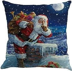 LILICAT_Bekleidung Weihnachten Kissenbezug 45 x 45 cm Kissenhülle Baumwolle Leinen Sofa Auto Wurf Kissenbezug Home Decor