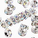 nbeads 100Stück Messing Kristall Strass-Rondelle Spacer Perlen 6mm, weiß