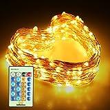 infinitoo LED Lichterkette, 20 Meter 200 LED Kupferdraht Lichterkette Warmweiß mit Fernbedienung, Sternenhimmel-Lichterkette, Wünderschöne-Deko für Weihnachten, Hochzeit, Party, Zuhause, Fenster, Bar