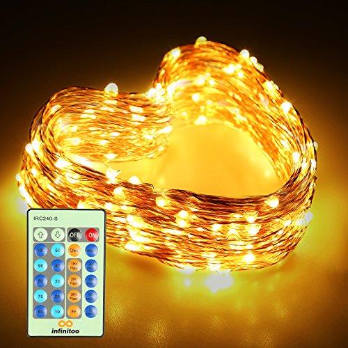 rkette, 20 Meter LED Kupferdraht Warmweiß mit Fernbedienung ()
