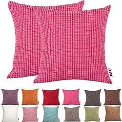 Juego Plandv® de 2 fundas de cojín decorativo, diseño a rayas, de pana, de color liso, disponibles en 19 colores y 6 tamaños, hot pink, 60 x 60 cm