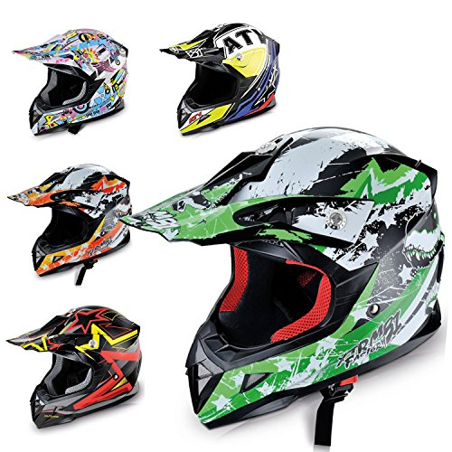 Hecht Motocrosshelm 54915 Motorrad-Helm Enduro ABS Quadhelm (XS (53-54 cm), grün/schwarz / weiß) -