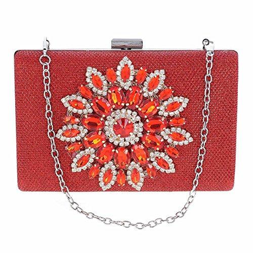 Damara Pochette de Soirée Femme Synthétique Fleur de Pière et Strass Sac à Main rouge