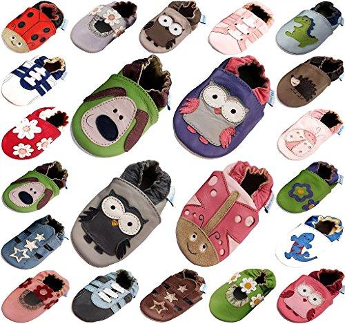 MiniFeet Premium Weiche Leder Babyschuhe, Grüner Hund 6-12 Monate