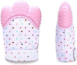 Fancyku Silicone BPA Free Teething Mitten for Baby Boys & Girls (Pink)