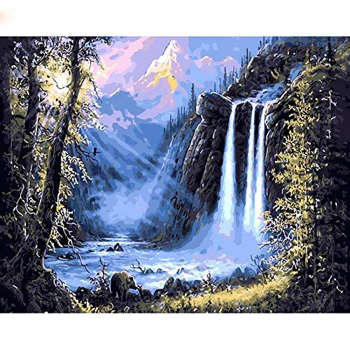 XYVXJ Berg Wasserfall Landschaft DIY Malen nach Zahlen Kits Zeichnung Moderne Wand -Kunst -Bild für HauptdekorKunst,50x65CM