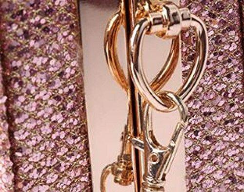 Ladies Borsa Versione Coreana Colore Solido Diamante Selvaggio Borsa Da Sera Serratura Spalla Frizione Brightpink