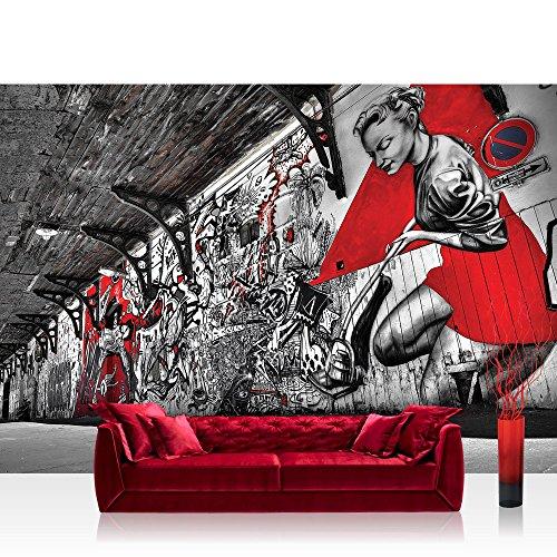Pop-art-foto (Fototapete 368x254cm PREMIUM Wand Foto Tapete Wand Bild Papiertapete - Graffiti Tapete Pop Art Street Art Bretterwand natural - no. 3359)