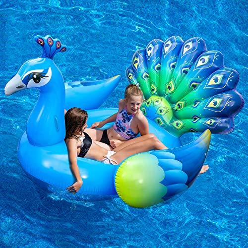 iBaseToy Aufblasbar Pool Schwimmen, riesige Strandschwimmer, Pool-Insel, aufblasbares Pfau Poolfloß für Sommerfest, Pool schwimmt spielzeug , Pool Lounge für Erwachsene & Kinder-200*190*143cm