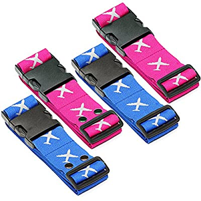 Luggage Strap–Suitcase Strap Wellead Travel Accessories Luggage Strap Adjustable Luggage Strap Set of 4Nylon Luggage Strap that 5x 190cm - cheap UK light store.