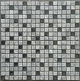 Marmor Glasmosaik Matte Grau Schwarz Mosaik Fliesen Naturstein Dusche Bad M670