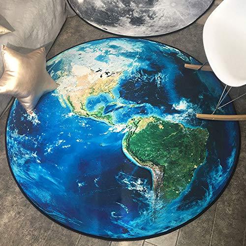 Erde Korb (Z&J Gezeitenmarke runder Teppich persönlichkeit kreative Erde mond Computer Stuhl Kissen hängenden Korb Teppich kann gewaschen Werden (Color : Earth, Size : 47.2))