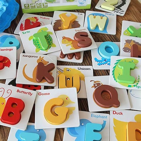 JUN 26 Letters Cognitive Card Wooden Letters Puzzle Toy, Alphabet Wooden Educational Letter Puzzle, Animal Letters Preschool Learning Toy - Perfect For Children To Develop Intelligence Learning There Alphabet Wooden Jigsaw Puzzle Toys for Children 1-3 years old, Enlightenment Early Childhood Educational Toys Alphanumeric Cognitive Three-dimensional Puzzle Wooden
