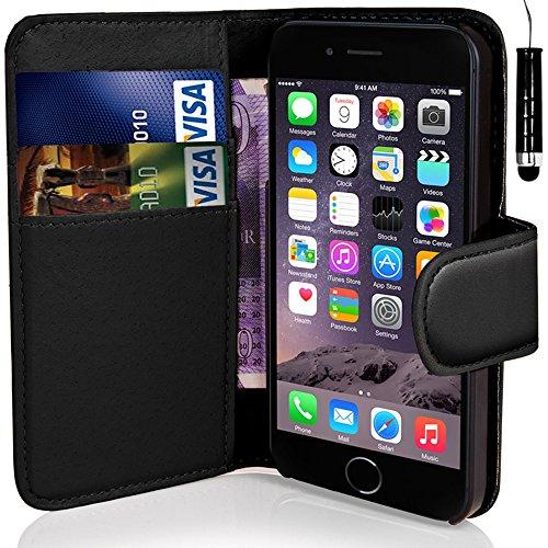 Monde de mobile®–Apple iPhone 55C 5C–QUALITÉ Premium Étui portefeuille à rabat en cuir PU avec film protecteur d'écran chiffon en microfibre Stylet + Écran LCD Black Side Wallet