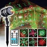 COOWOO Weihnachts Projektor Beleuchtung für Innen und Außen rot grüne Sterne mit 20 Mustern im wetterfesten Aluminium Gehäuse inkl. Fernbedienung
