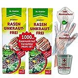 GREEN24 Dicotex Rasen Unkraut-Frei | Dr. Stähler | (2 x 500ml) | Rasen Unkrautvernichter als Set für ca. 1000m2 Messbecher + Handschutz + Atemschutz