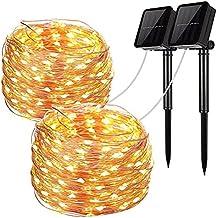 JINLE Cadena de luz solar, 100 LED String Lights estrellado, alambre de cobre luces