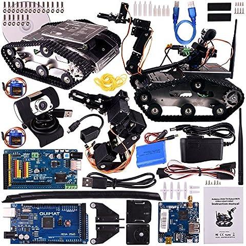 Quimat Arduino Véhicules Robot ,Wifi Caméra Voiture Kit Upgrade avec Mega 2560 Board et Manipulateur,Intelligent Vehicle Robotics avec Vidéo Didacticiel,Educational DS Robot Kit avec Caméra HD pour les Enfants,Arduino Apprenants Par iOS android PC Controlé