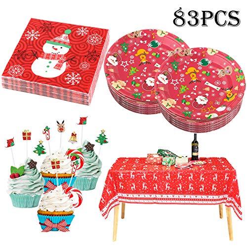 Whaline 83-teiliges Einweggeschirr-Set für Weihnachten, inkl. Tischdecke, Pappteller, Servietten und Cupcake-Topper, komplettes Zubehör für die Weihnachtszeit