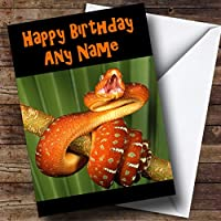 Orange Snake Personalised Birthday Card