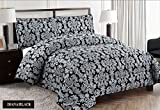 Super Luxury 3pc Jacquard Quilted Bedspread Comforter Throw Set (Super King, Diana Black)