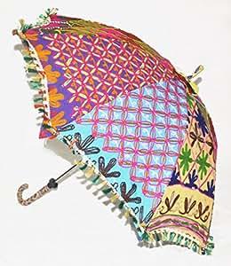 uml02022Home Dekorative Schwere Stickerei Arbeiten Design Baumwolle indischen Sun Boden Sonnenschirm 61x 71cm