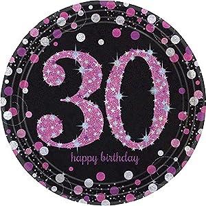 Platos de pape prismáticos de Amscan 9900596, de 23 cm. Para celebrar un 30o. cumpleaños