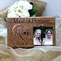 Photo Frame Maid Of Honour Wooden Plaque Personalised Wedding Gift