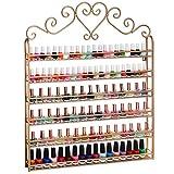 P&B Nail Polish Wall Rack Shelf Holder 6 Tier Heart Metal Nail Polish Storage Organizer Display Frame Holds 120 Bottles (Golden)