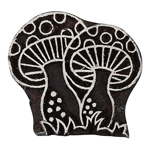 * Mano tallada impresión textil de madera en bloque de la tela / sello.  * Obras hermosa talla en el patrón de hongos.  * Estos bloques de impresión son hechos a mano.  * Un exquisito trabajo del artesano experto de la India.  * Puede ser utilizado p...