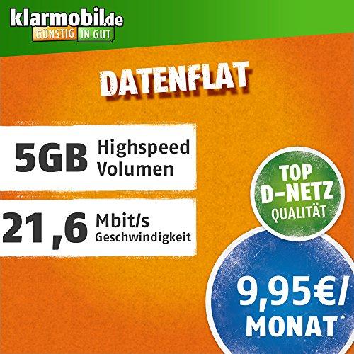 klarmobil Datenflat XL mit 5000 MB Internet Flat max. 21,6 MBit/s, 24 Monate Laufzeit, 9,95 EUR monatlich, Triple-Sim-Karten