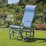Home Source Garden Chair Single Seat Glider Patio Poolside Rocking Chair Blue Havana