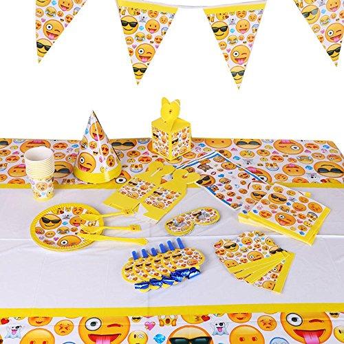 KOBWA 117 Stück Emoji Birthday Party Supplies Kindergeburtstag Party Supply Set gehören Fußball Muster Tischdecke, Wimpel Banner, Servietten, Kegel Hüte und Augenmaske