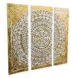 Wandbild Orientalisches Ornament Gold/Weiß MDF 3-teilig