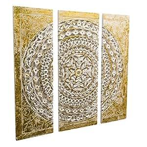 wandbild orientalisches ornament gold wei mdf 3 teilig. Black Bedroom Furniture Sets. Home Design Ideas