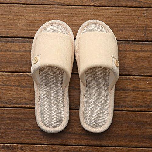 Doghaccd Pantoufles, Maison Coton Lin Pantoufles Été Piscine Maison Anti-dérapant Fond Épais Pantoufles De Plancher Féminin Mignon Couple Cool Pantoufles Mâle Le Beige
