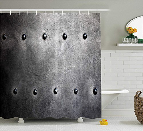 Industrial Shower Curtain, Black Grunge Plate Armour Digital Print with Rivets Industrial Theme Print, Fabric Bathroom Decor Set with Hooks, 66x72 inches Extra Long, Black Silver (Silver Halloween Lake)