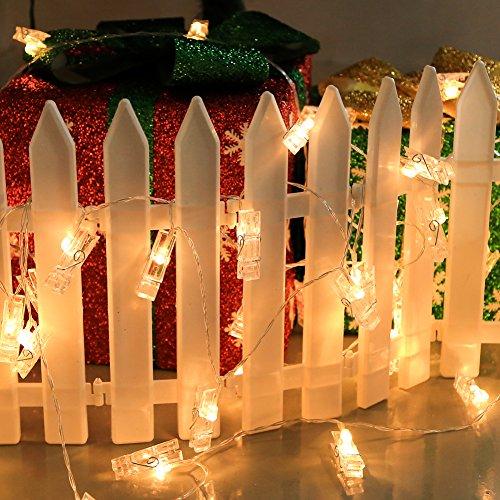 Lemaikj led foto clip stinga illuminazione, 40 foto clips 4m,batteria alimentato con luce bianca calda, lucine decorative per arredamento creativo camera, foto e feste