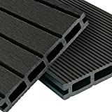 WPC Terrassendielen Basic Line - Komplett-Set Dunkelgrau | 8m² (4m x 2m) Holz-Brett Dielen | Boden-Fliesen + Unterkonstruktion & Clips | Balkon Boden-Belag + rutschfest + witterungsbeständig