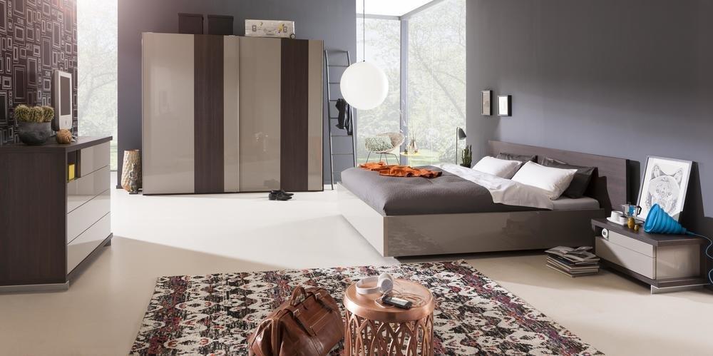 Camera da letto matrimoniale componibile completa color rovere nobile e  grigio laccato (con letto king size 180x200 cm) | CasaMe