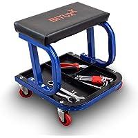 BITUXX® Werkstatthocker Werkstattsitz Arbeitshocker Garagenhocker Montagehocker Rollhocker mit Rollen und Ablagen