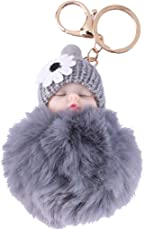 VORCOOL Cute Cartoon Plush Keychain Baby Doll Car Key Ring Pendant Decorations Kids Party Favors (Grey)