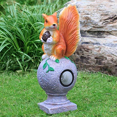 LOVEPET Tierskulptur Aus Fiberglas Outdoor-Simulation Eichhörnchen Solarlicht Eichhörnchen Ornamente Gartengrasverzierung 20x20x46cm (Eichhörnchen-montage-kit)