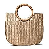 Strandtasche mit Holzgriffe Damenmode Gestrickte Handtasche Schultertasche mit Längenverstell...