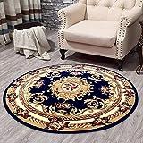 MOM Tapis chaud de chambre à coucher, salle de sofa d'ordinateur rond classique tapis floral floral traditionnel/coussin de chaise d'ordinateur doux durables serviettes,Bleu,150cm * 150cm...