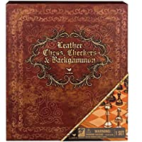 Cardinal Games - 6039930 - Leather Chess, Checkers and Backgammon Board Game - Deluxe Three Game Set