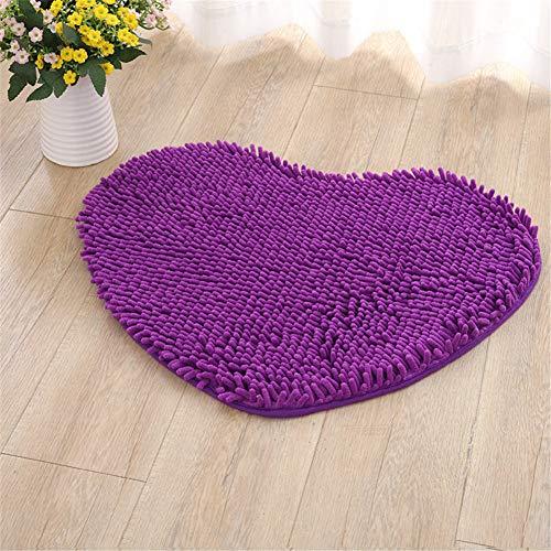 Odot ciniglia tappetini antiscivolo assorbente a forma di cuore, rettangolari tappetini per il bagno tappetino zerbino camera da letto cucina tappeto (50x60cm,viola profondo)